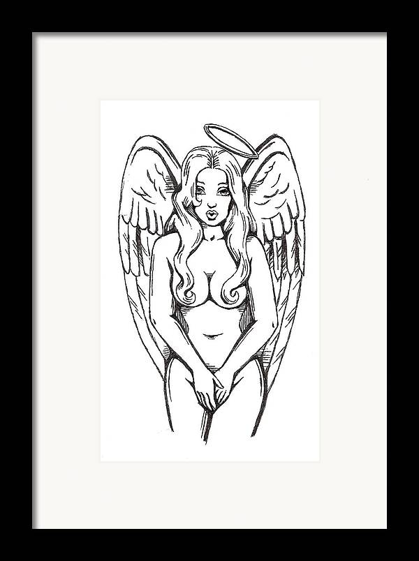 Angel Framed Print featuring the drawing Angel by Scarlett Royal
