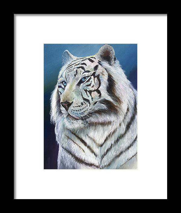 Big Cat Framed Print featuring the painting Angel The White Tiger by Sherry Shipley