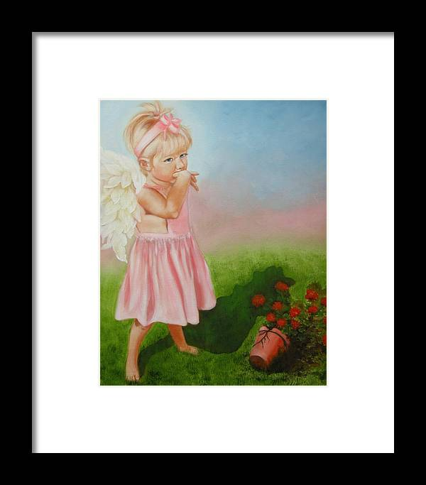 Angel Framed Print featuring the painting Angel Thumbs by Joni McPherson