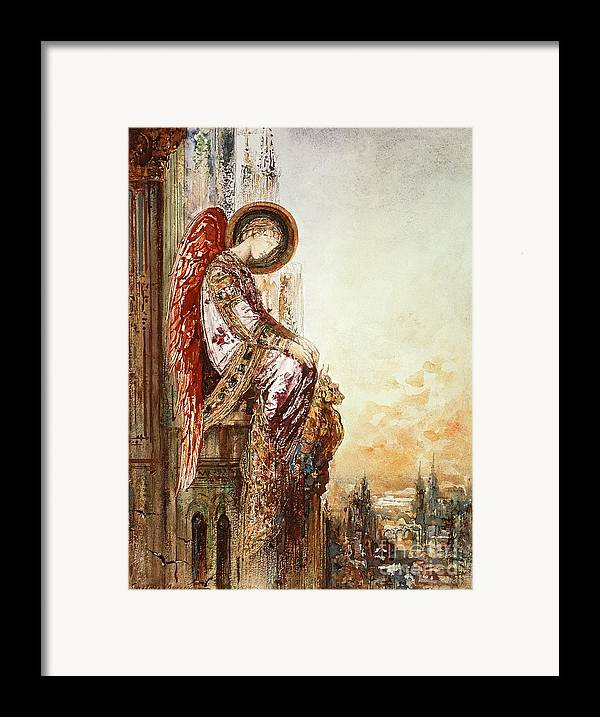 Watercolor Framed Print featuring the painting Angel Traveller by Gustave Moreau