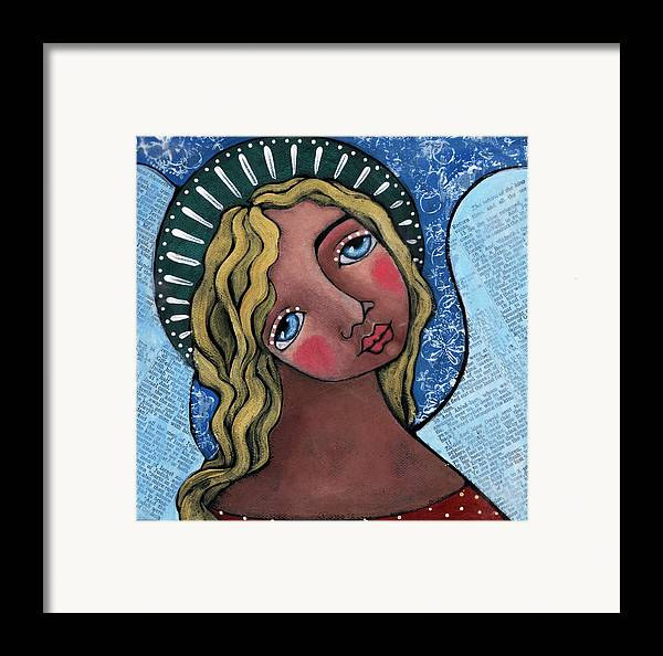 Angel Framed Print featuring the painting Angel With Green Halo by Julie-ann Bowden