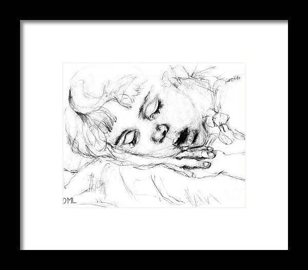 Sleeping Framed Print featuring the drawing Angela by Diana Ludwig