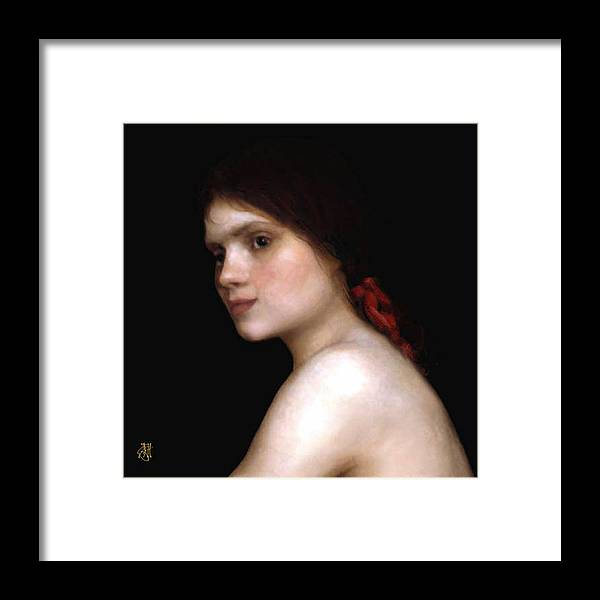 Portrait Of A Young Woman. Framed Print featuring the digital art Angela's Ribbon by John Helgeson