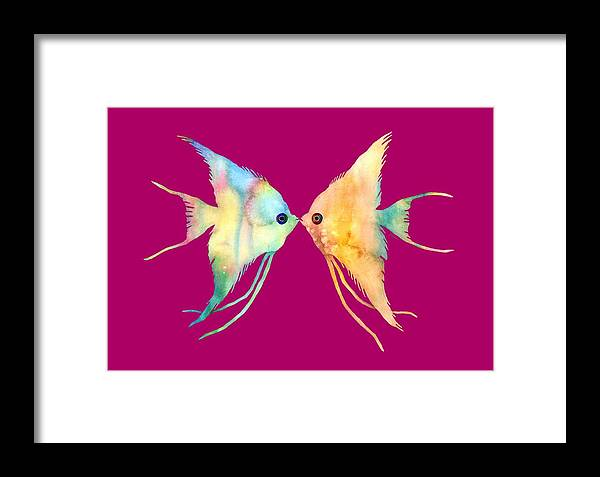 Fish Framed Print featuring the painting Angelfish Kissing by Hailey E Herrera