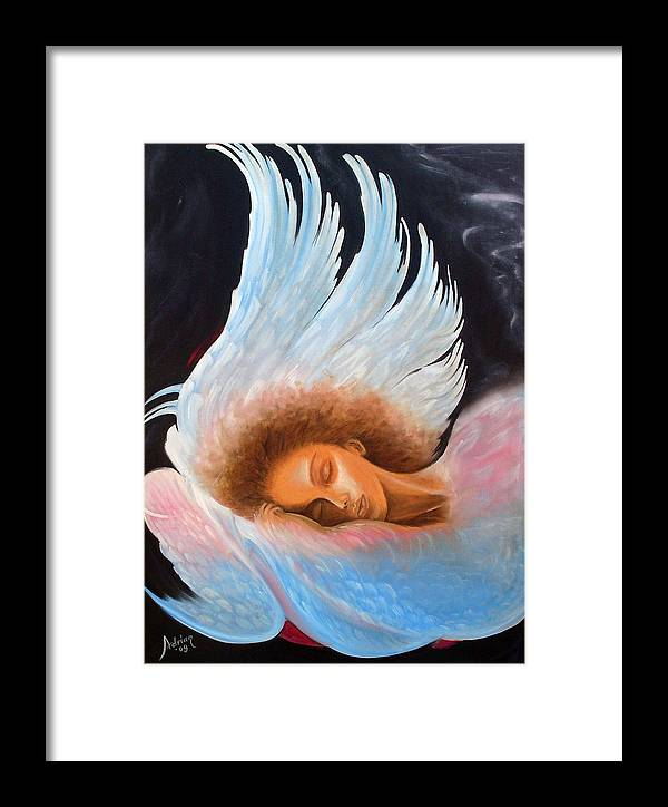 Angel Framed Print featuring the painting Angelic Dream by Adrian Olteanu