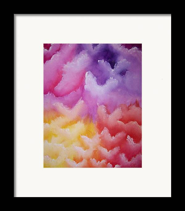 Artwork Angels Framed Print featuring the painting Angelic Visitation by Laurie Kidd