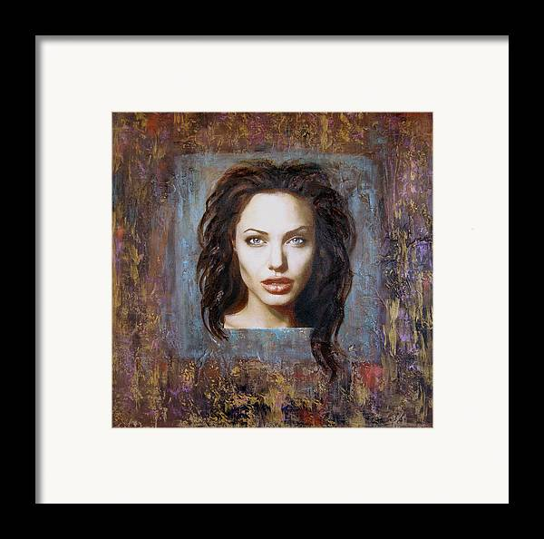 Portrait Framed Print featuring the painting Angelina Jolie by Jeannette Ulrich