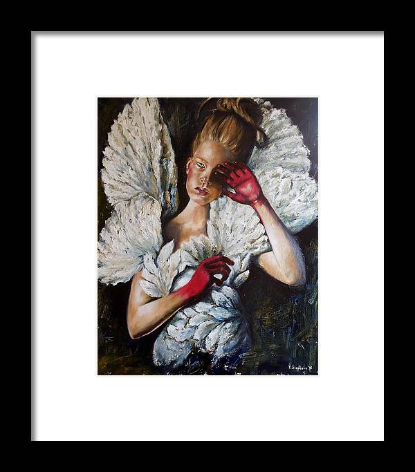 Girl Framed Print featuring the painting Angel's Dont Cry. by Tatiana Siedlova