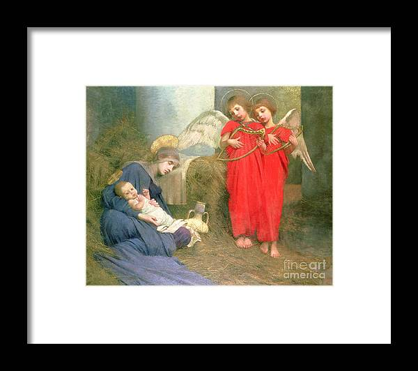 Stable; Lyre; Musical Instrument; Sleeping; Straw Framed Print featuring the painting Angels Entertaining the Holy Child by Marianne Stokes