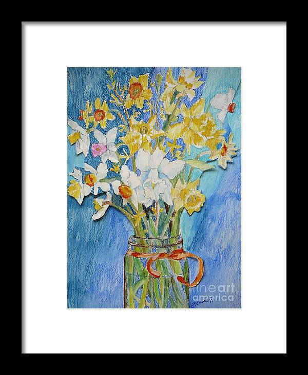 Flowers Framed Print featuring the painting Angels Flowers by Jan Bennicoff