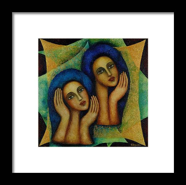 Angels Framed Print featuring the painting Angels In Blue. by Evgenia Davidov