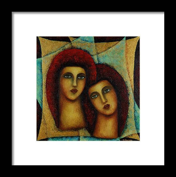 Angels Framed Print featuring the painting Angels In Red. by Evgenia Davidov