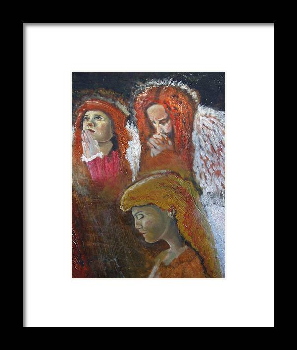 Angels Framed Print featuring the painting Angels by J Bauer