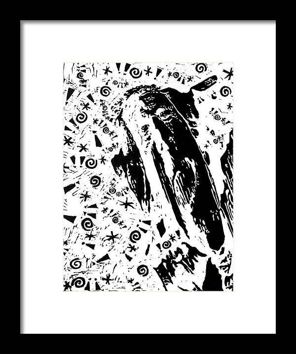 Black Framed Print featuring the painting Angered By Pain -- Hand-pulled Linoleum Cut by Lynn Evenson