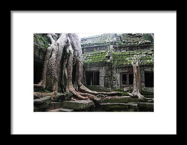 \angkor Wat\ Cambodia \siem Reap\ Historical Ancient Kymer Tree Roots Moss Framed Print featuring the photograph Angkor Wat by Linda Russell