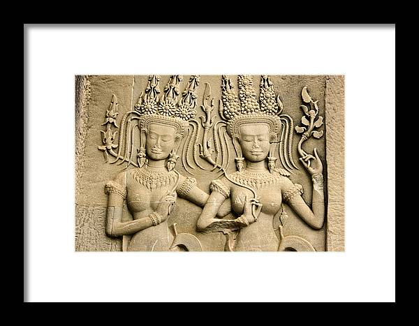 Asia Framed Print featuring the photograph Angkor Wat Relief by Michele Burgess