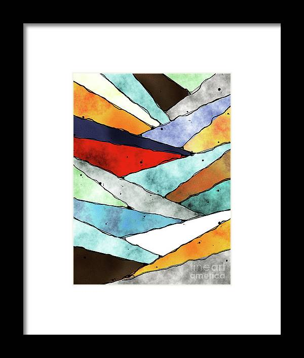 Slices Framed Print featuring the digital art Angles of Textured Colors by Phil Perkins