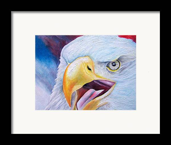 Eagle Framed Print featuring the painting Angry Eagle by Brandon Sharp