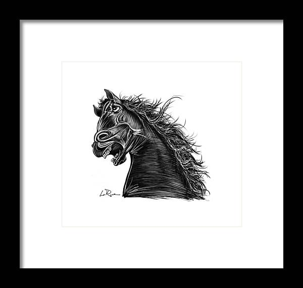 Angry Horse Framed Print featuring the drawing Angry Horse by Doug LaRue