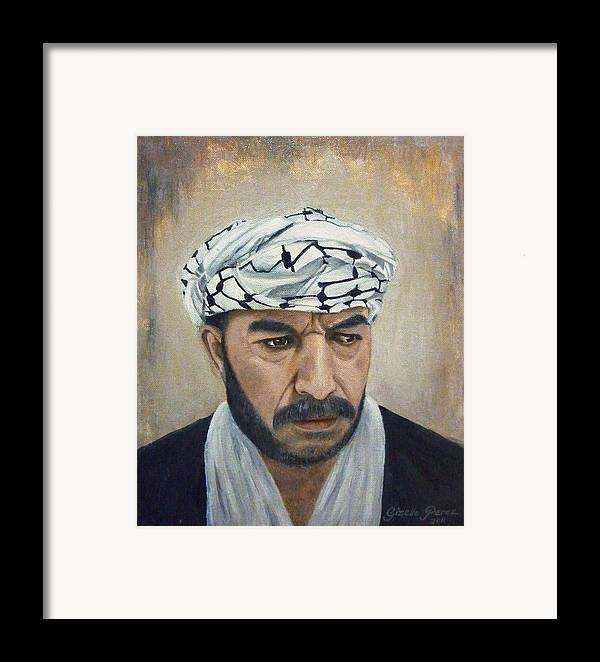 Palestinian Framed Print featuring the painting Angry Palestinian by Gizelle Perez