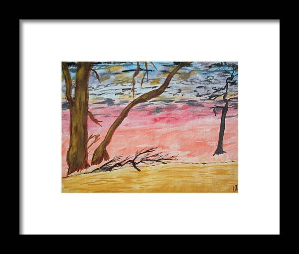 Landscape Framed Print featuring the painting Angry Sky by Warren Thompson