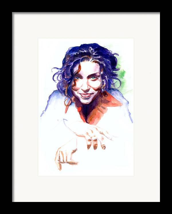 Ani Difranco Framed Print featuring the painting Ani Difranco by Ken Meyer jr