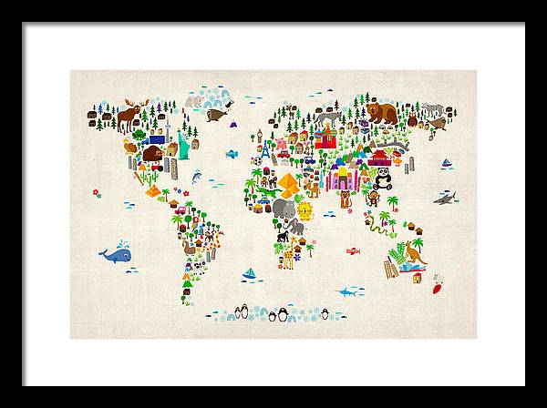 Map Of The World Framed Print featuring the digital art Animal Map Of The World For Children And Kids by Michael Tompsett