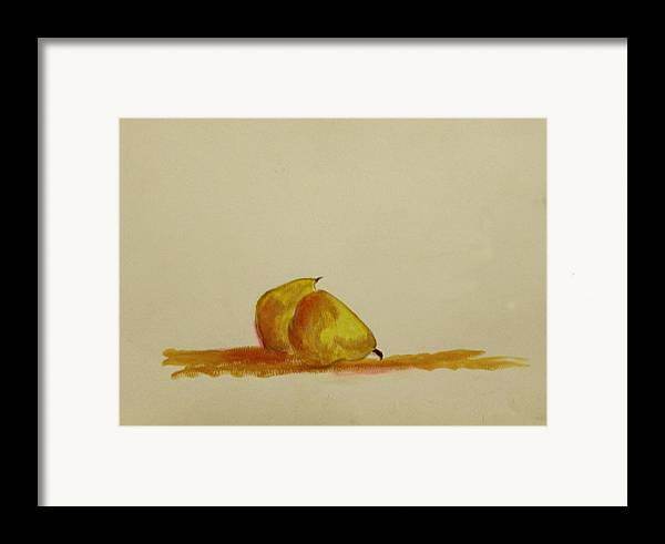 Fruit Framed Print featuring the painting Anjou Pears by Michela Akers