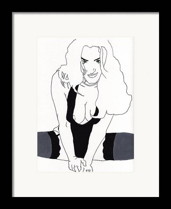 Portrait Framed Print featuring the drawing Anna-black Stockings by Stephen Panoushek