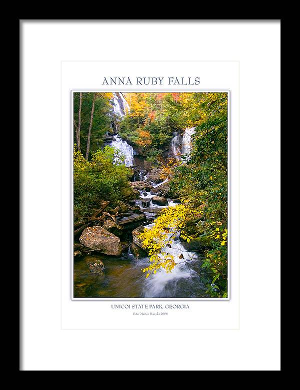 Landscape Framed Print featuring the photograph Anna Ruby Falls by Peter Muzyka