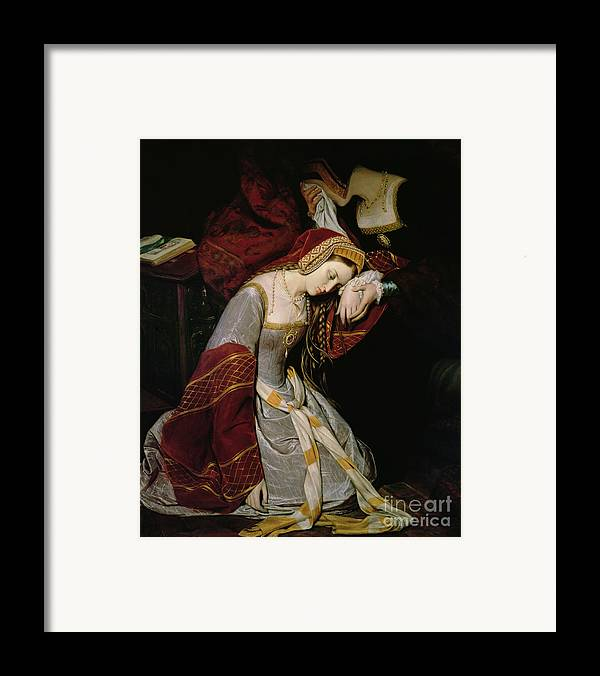 Anne Framed Print featuring the painting Anne Boleyn In The Tower by Edouard Cibot