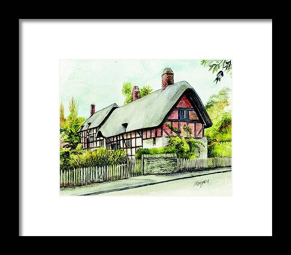 Anne Framed Print featuring the painting Anne Hathaway Cottage England by Morgan Fitzsimons