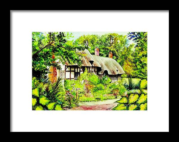 Anne Framed Print featuring the painting Anne Hathaways Cottage by Morgan Fitzsimons