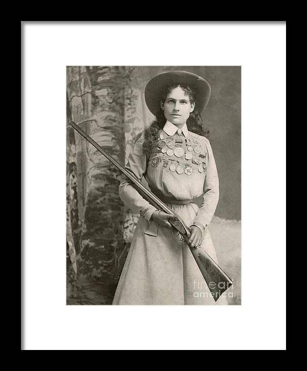 Annie Oakley Framed Print featuring the photograph Annie Oakley With A Rifle, 1899 by Richard Kyle Fox