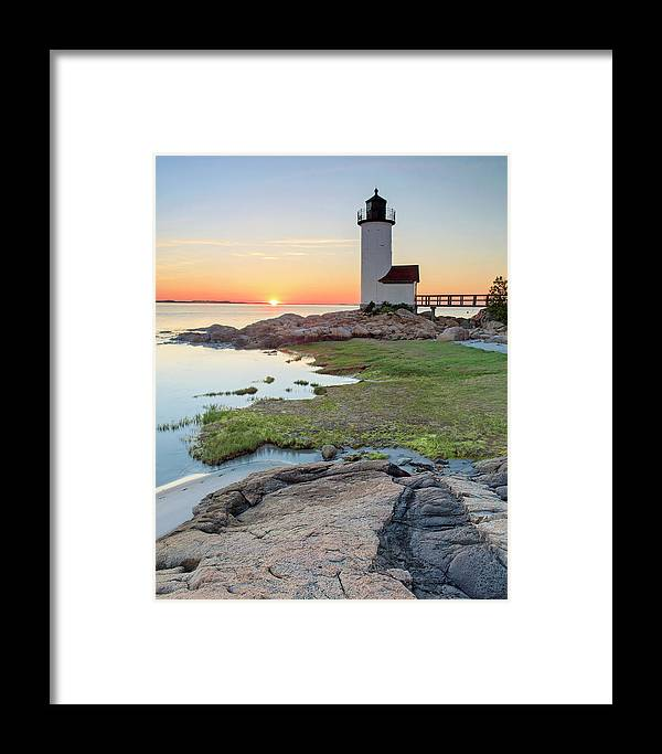 Cape Ann Framed Print featuring the photograph Annisquam Lighthouse Sunset Vertical by Katherine Gendreau