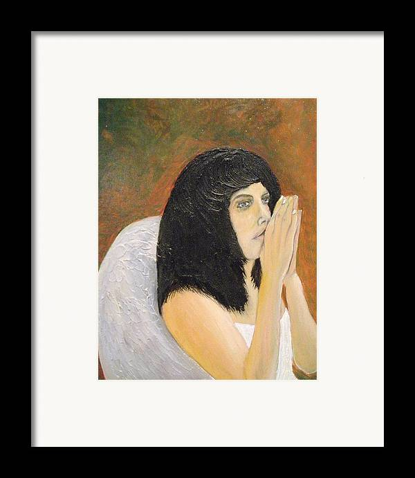 She Prays For All Mankind Framed Print featuring the painting Annolita Praying by J Bauer