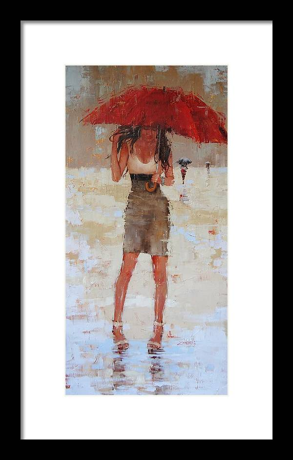 Laura Zanghetti Framed Print featuring the painting Another Big Red by Laura Lee Zanghetti