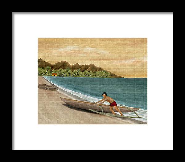 Tropical Island Seascape Ocean Nature South Seas Palms Mountains Outrigger Boat G Framed Print featuring the painting Another Day by Gordon Beck