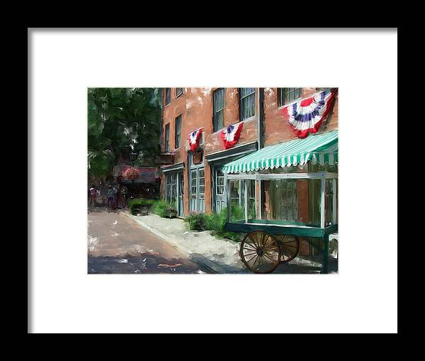 Painting Street Oil New England Market Tourist Vendor Impressionism Massachusetts Antiques Framed Print featuring the painting Another Day's End by Eddie Durrett