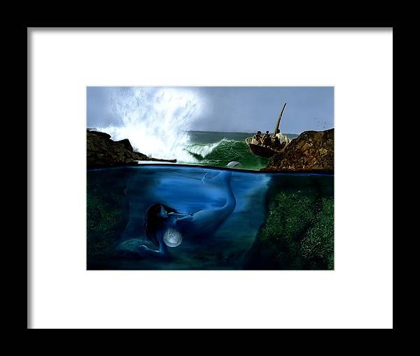 Mermaid Framed Print featuring the painting Another Manatee Sighting by Charles Parks