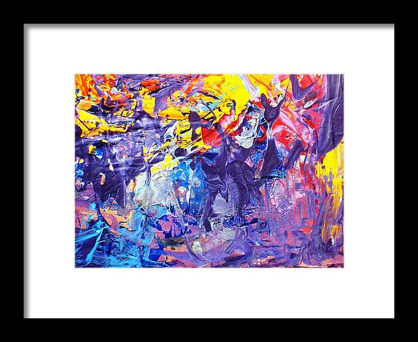 Abstract Framed Print featuring the painting Another New York State Of Mind by Bruce Combs - REACH BEYOND