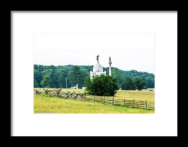 This Is A Photo Another View Of The Pennsylvania Monument At Gettysburg Pennsylvania. Framed Print featuring the photograph Another View Of The Pa Monument by William Rogers