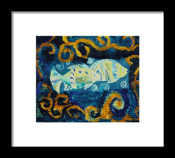 Fish Framed Print featuring the tapestry - textile Another World by Aliza Souleyeva-Alexander
