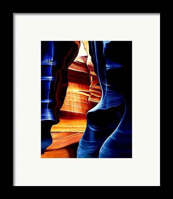 Landscape Framed Print featuring the painting Antelope Canyon by Anni Adkins