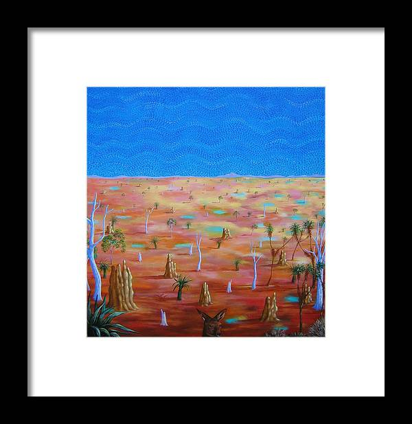 Landscape Framed Print featuring the painting Anthills by Hiske Tas Bain
