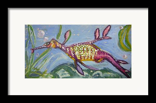 Sea Dragon Framed Print featuring the painting Anthropomorphic Sea Dragon 2 by Michelley QueenofQueens