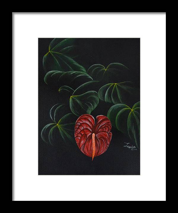 Hawaii Framed Print featuring the painting Anthurium by Roberta Landers