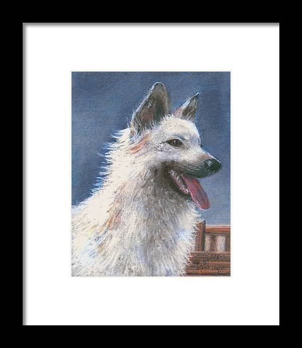 Dog Framed Print featuring the pastel Anticipating Their Return by Arline Wagner