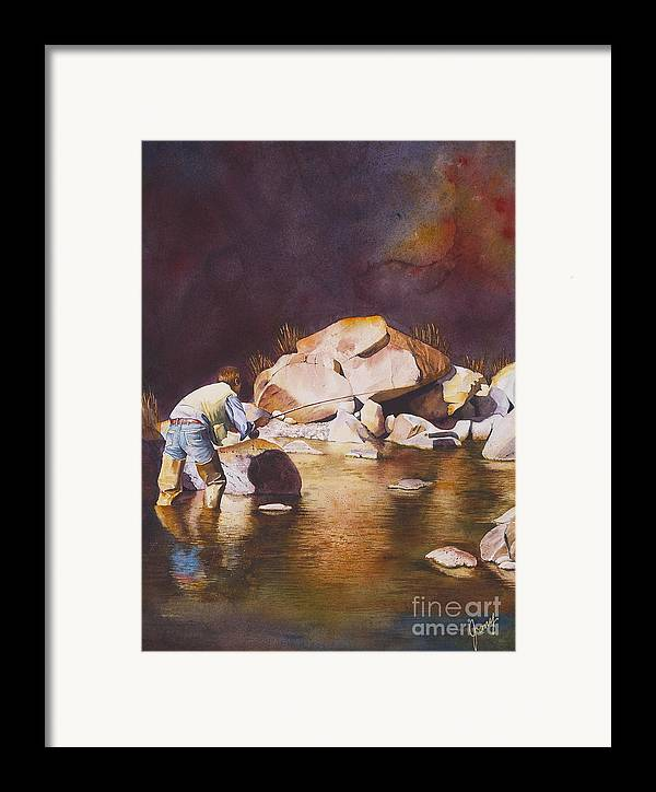 Fly Fisherman Framed Print featuring the painting Anticipation by Jany Schindler