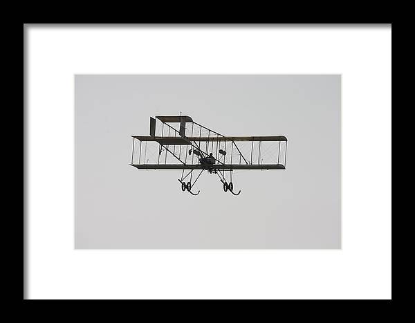 1910 Framed Print featuring the photograph Antique 1910 Henri 3 Biplane Airplane Takes Flight Poster Print by Keith Webber Jr
